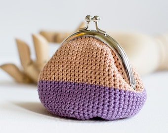 Crochet Coin Purse with Kiss Clasp Frame in Brown and Purple