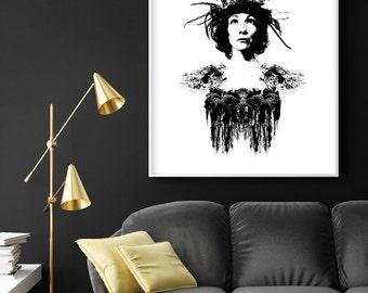 Downloadable Print, Black and White Art, Minimalist Poster, Minimalist Art, Scandinavian Print, Scandinavian Art, Female Portrait, Boho Art