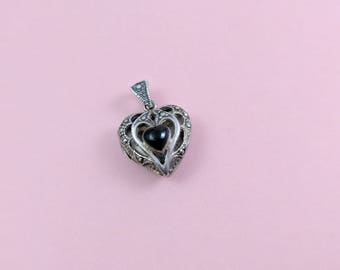 Sterling Silver Heart Locket Pendant Silver with Black Onyx and Sparkling Marcasites Sweet Little Open Heart Necklace Pendant