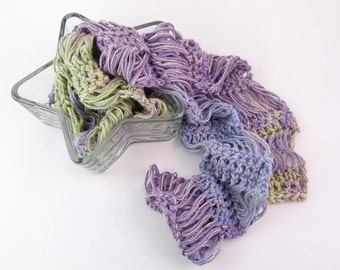 Lightweight Crochet Scarf in Purple, Blue & Green Ombre Color - Item 1323