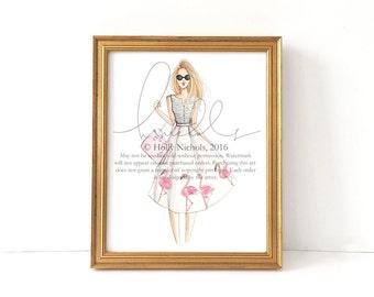 Flamingo Girl (Fashion Illustration Print)