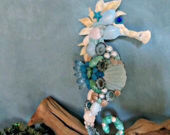 Sea shelled aqua seahorse wall art ornament_beach home decor (2)