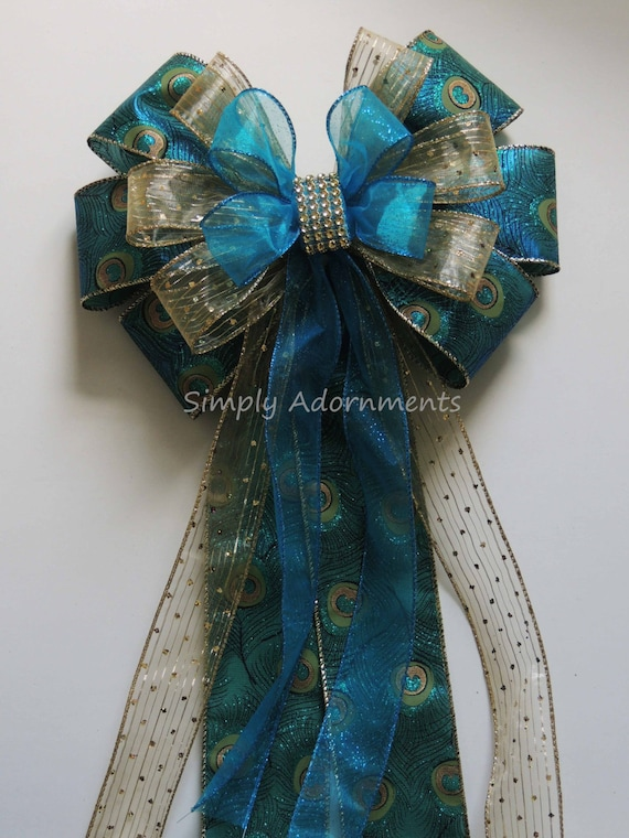 Teal Blue Peacock Wedding Pew Bow Teal Gold Peacock Party Decor Teal Gold Wedding Ceremony Aisle Decor Peacock Gift Bow