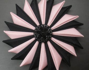 Pale Pink and Black Cocarde Cockade With Glass Button