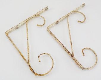 Pair of Vintage Metal Shelf Brackets • Chippy Shabby Wire Shelf Brackets