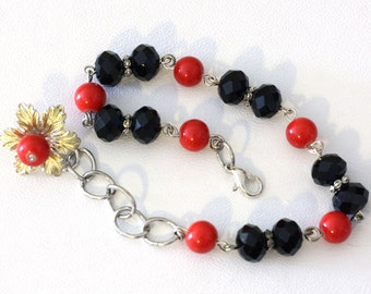 Red Glass Pearl Bead with Solid Black crystal Bead Chain Link Bracelet with flower charm adjustable chainlink anklet - womens jewelry