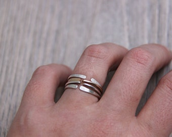 stacking ring set, mix and match rings, Mixed metal rings, Open Ring, adjustable Ring,