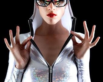 White Holographic Rainbow Magic Sunblocking Bodysuit, Wearable Sunblock
