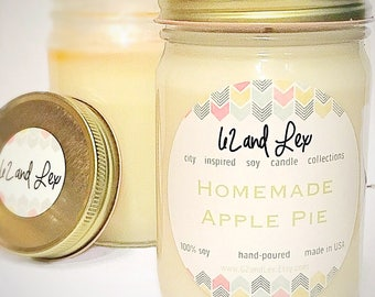 Homemade Apple Pie Candle/Holiday Candle/Soy Candle/Holiday Decor/Best Friend Gift/Hostess Gift/Apple Pie/holiday gift/ Gift For Her
