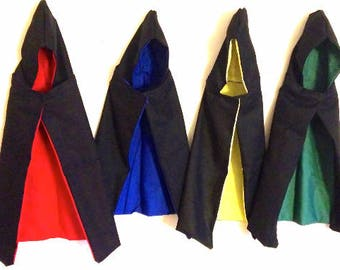 Black Wizard & Witch Robes for Dogs and Cat Halloween Costumes - Comes w/ Red, Blue, Yellow, or Green Lining on Inside