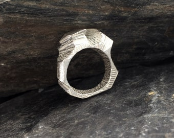 Sterling Silver Ring  'Ymer' Troll Rock Ring