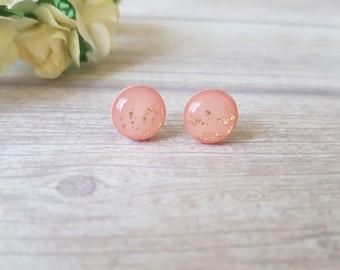 Blush and gold earrings, Blush stud earrings, Bridal earrings blush, Peach earrings stud, Gold and blush earrings, Gift for godmother