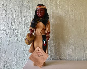Vintage Comanche Princess tourist doll, souvenir traditional costume Made in USA, America indian collectible figurine, original label