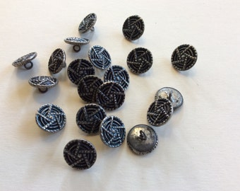 Vintage Lot of 21 Silver Tone Cut Steel Buttons Victorian Metal Antique Collection