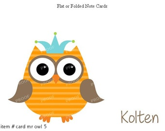 Orange Brown Owl Note Cards Set of 10 personalized flat or folded cards