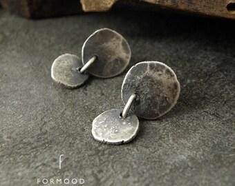 100% Ag - earrings, raw sterling silver stud earrings, oxidized silver,
