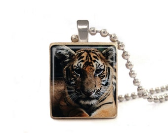 Tiger Necklace | Tiger Charm | Tiger Pendant | Animal Necklace | Nature Necklace | Gift for Animal Lovers | Animal Jewelry | Game Tile
