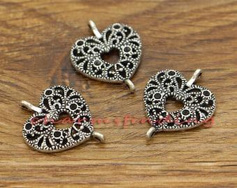 20pcs Double Heart Connectors Charms Antique Silver Tone 18x23mm cf2033