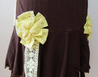Brown color skirt OR tube dress with lemon yellow trim roses decoration plus made in USA product. (v17)