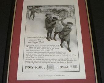 Framed 1918 Ivory Soap   Magazine Ad