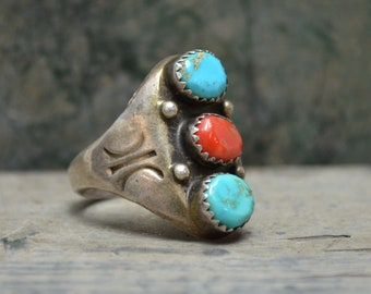 Old Pawn Coral Turquoise Men's Ring - Size 9