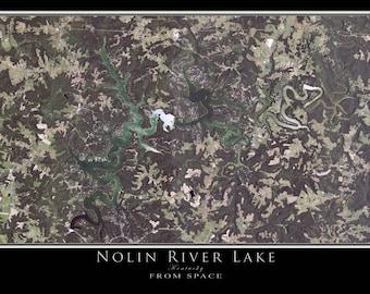Nolin River Lake Kentucky Satellite Poster Map