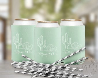 Cactus Wedding Can Coolers | Personalized Can Coolies | Monogram Beer Sleeves | Can Insulator | Party Favors | Made to Order Gifts