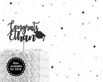 Custom Congrats 2018 Graduation Cake Topper - graduation cake topper, graduation 2018, 2018 cake topper, graduation party, graduation decor