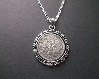British Sixpence Coin Necklace -  British Six Pence Coin Pendant in Pendant Tray- 1954 British Six Pence Coin Necklace