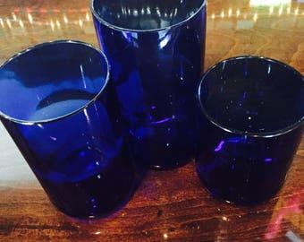Set of 6 Cobalt Blue Glasses made from Reclaimed Wine Bottles