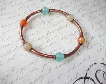 Multicolor jade stones copper stacking bracelet
