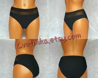 HIGH Rise Mesh BIKINI Bottoms Black Mesh Bikini Bottom  Womens Swimwear Womens Bikini Bottoms Mesh Swimwear