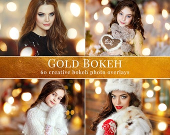"Christmas photo overlays ""Gold Bokeh"", light photo overlays, bokeh overlays, creative overlays for Photoshop, actions for Photographers"