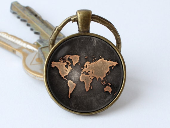 Vintage map keychain map jewelry old map keyring world map key gumiabroncs Gallery