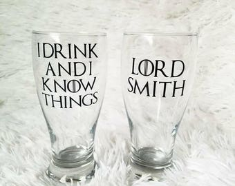 Game of Thrones inspired barware l I drink and I know things l Lord or Lady l Birthday gift l housewarming gift