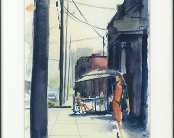 8.5x11 original watercolor of woman in city