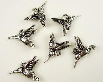 6 Silver TierraCast Hummingbird Charms