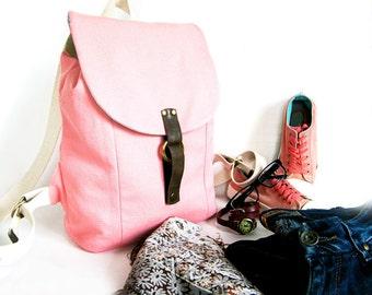 Backpack purse Pink large backpack Women's canvas travel bag School College backpack Cloth and leather backpack Shoulder bag Whale bag