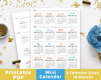 Bullet Journal Mini Calendars for Future Log, Bullet Journal Month, Bujo Dates, Journal Calendar, Planner Printable, Printable Stickers, PDF