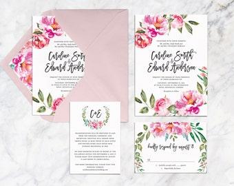Printable Wedding Invitation Set, Vintage Botanical Flower Wedding Invitation Set, Pink Peosies Watercolor Wedding Invitation Set