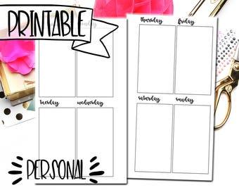 Week on 2 Pages Personal Planner Printable - Personal Planner Inserts - Printable Weekly Insert - Weekly Planner Printable - Minimalistic