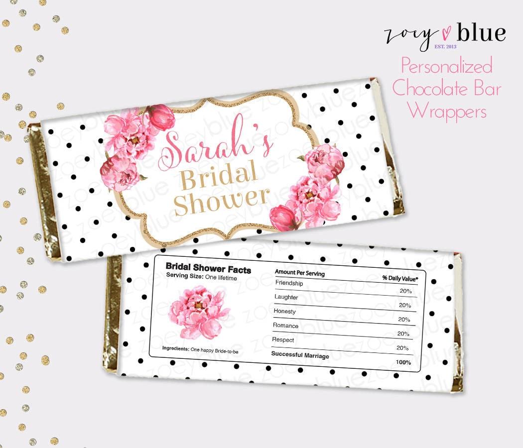 Peony Bridal Shower Chocolate Bar Wrapper Floral Black