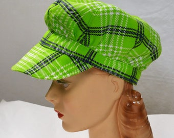 Engineer Hat in Vintage Green and White Plaid