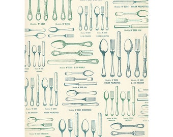 Cavallini Wrapping Paper Vintage French Silverware Designs Bon Appetit to Frame, Wrapping, Book Binding, Decoupage & Paper Arts PSS 3273