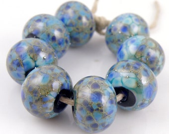 Sapphire Treasures SRA Lampwork Handmade Artisan Glass Donut/Round Beads Made to Order Set of 8 8x12mm