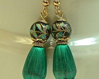 Vintage Japanese Tensha Bead Dangle Drop Earrings Black Gold, Vintage Japanese Teal Blue Silk Teardrop Bead, Gold Ear Wires -GIFT WRAPPED