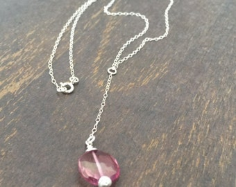 Pink Topaz Necklace - Pink Topaz Jewelry - Gemstone Jewellery - Sterling Silver Chain - Luxe - Pendant