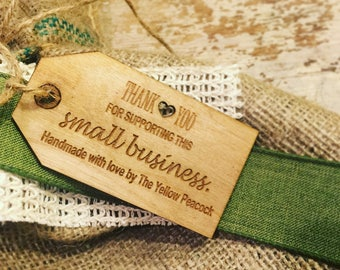 Wooden Tags, Buisness Tags, leather, Custom Personalized Tags, Engraved Tags for knitting , Knitting Buttons, Craft Buttons, party favors