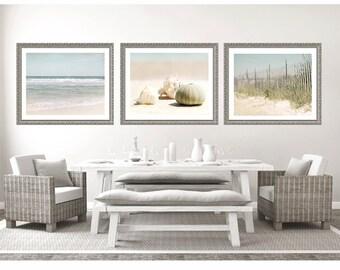 Set of 3 prints, Beach decor, beach photo set, ocean print, ocean photography, wall art, shell photography, beach decor set, home decor
