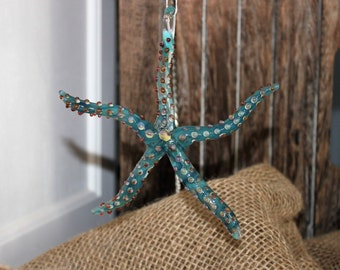 Teal and caramel glass starfish ornament